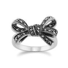 Gemondo Ribbon Ring, 925 Sterling Silver 0.32ct Marcasite Set Ribbon Ring