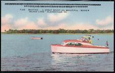 CLARKSVILLE VA Bugg's Island Lake Reservoir Boating Vtg Linen Postcard Old PC