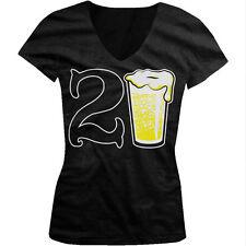 21st Happy Birthday Drinking Drunk Party Beer Shenanigans Juniors V-neck T-shirt