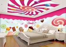 3D Sucette Motif 2 Photo Papier Peint en Autocollant Murale Plafond Chambre Art