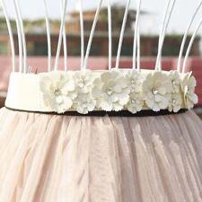 Faux leather Belt Rose Flower Elastic Stretch Dress Narrow Waistband Women D
