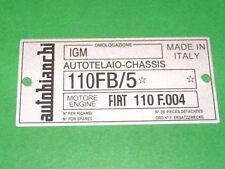 Targhetta Autobianchi Bianchina Cabriolet dal '65