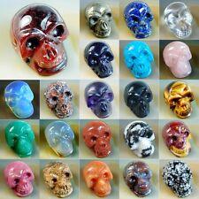 "1.2"" Natural Jasper Gemstone Carved Skull Crystal Healing Pick Stone"