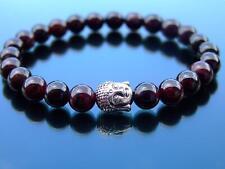 Buddha Garnet Natural Gemstone Bracelet 6-9'' Elasticated Healing Stone Chakra