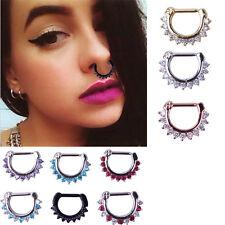 Charming Women Crystal Septum Clicker Piercing Nose Ring Hoop Piercing Jewelry