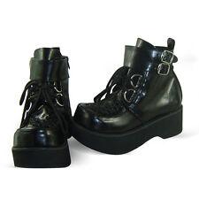 schwarz steam-punk gothic emo damen-schuhe Shoes goth keilabsatz Platform cool