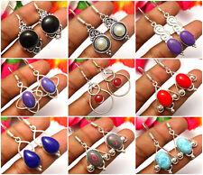 Lavish Earrings Larimar, Calsilica & Other Gemstones 925 Silver Overlay Jewelry