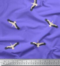 Soimoi Fabric Flying Stork Bird Printed Fabric 1 Meter - BRD-579B
