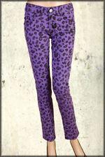 Iron Fist Jungle Fever Leopard Animal Print Womens Skinny Jeans Purple $100 NEW
