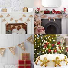 Festive Christmas Decoration Bunting Tree Cake Hessian Snowflakes Gingerbread