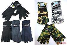 Men's Fleece Winter Gloves Thermal Insulated w/ Strap Camo Blue Gray Black
