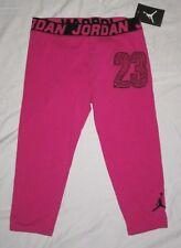 NWT Girls NIKE AIR JORDAN Athletic Capri Leggings Capris - size L - Pink & Black