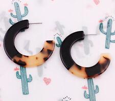 Tortoise Acrylic Resin Circle Hoop Earrings New Trendy Leopard Statement Jewelry