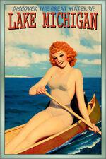 LAKE MICHIGAN Canoe Redhead PinUp Poster Illinois Indiana Wisconsin Art Print243