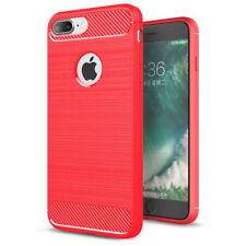coque housse étui iPhone 5/5SE en silicone rouge effet métal brossé et carbone