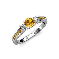 Citrine & Diamond 3 Stone Ring with Citrine Side Bar 1.00cttw 14K Gold JP:75053