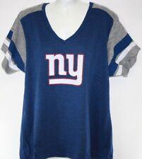 NEW Womens Majestic NFL New York Giants V Neck Blue Short Sleeve Football Shirt