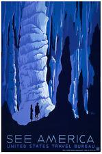 See America Travel POSTER.Stylish Graphics.Cave.Vintage Room Decor.390i