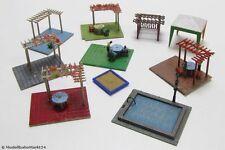 Gartenzubehör Figuren, Pool, Pavillon, Sandkasten etc. 84-tlg. für Spur H0 1:87