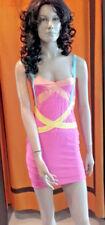 Sexi abito vestito donna da discoteca cubista ballo ROSA mini corto aderente