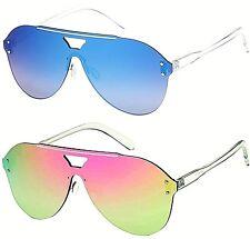 New Sunglasses Mens Ladies Women Flat Transparent Lens Visor Big Shield Aviator
