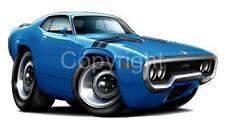 1971 - 1972 Plymouth Road Runner GTX Muscle Car Cartoon Tshirt #9494 auto art