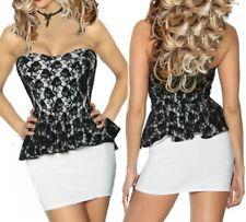 SeXy Damen Bandeau Schößchen Spitze Mini Kleid Dress S 34 M 36 L 38 weiß schwarz