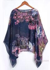 AU Womens Chiffon Blouse Lagenlook Floral Sheer Tops Tunic Shirt Cover Up Kaftan