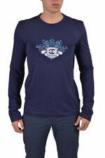 Just Cavalli Men's Blue Graphic Crewneck Long Sleeve T-Shirt US L XL 2XL