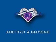 Amatista y Diamante Anillo Corazón Plata Maciza De Ley Mujer
