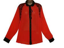 CURVACEOUS CLOTHING  PLUS SIZE EYELASH LACE CHIFFON SHIRT