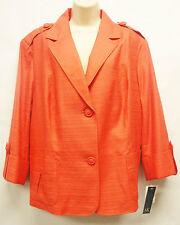 """*NWT Anne Klein """"Sedona"""" Guava Coral 3/4 Sleeve Lined Jacket Blazer sz 22W-Nice"""
