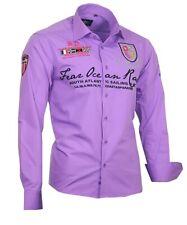 BINDER de LUXE Designer Hemd Polo Shirt Kontrast Party Clubwear NEU 80506 Lila