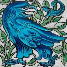 William De Morgan Eagle & Snake Ceramic Tile Fireplace Kitchen Bathroom Blue
