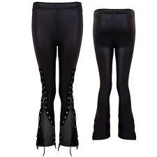 Womens Shiny PVC Wet Look Stretch Lace Up Eyelet Elasticated Leggings