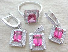 "925 STERLING SILVER ""REAL PINK TOPAZ rectangle"" EARRINGS & RING & PENDANT -WOMEN"