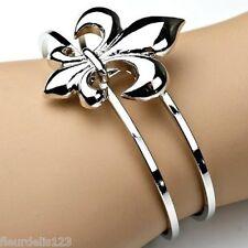 Fleur de Lis Oval Cuff Bracelet- Choose Silver or Gold