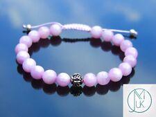 Kunzite Om Sterling Silver Natural Gemstone Bracelet 6-9'' Macrame Healing Stone