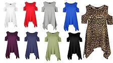 N52 Womens Ladies Cold Oversized Shoulder Hanky Hem Baggy Cap Sleeve Plus Size
