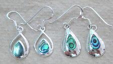 NEW 925 STERLING SILVER paua shell ABALONE NZ tear drop earrings women teen girl