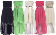 NEW WOMENS PLUS SIZE BANDEAU BOOB JEWEL STONE UNEVEN HEM PROM MAXI DRESSES 16-26