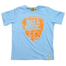 NEUF Ibiza Rocks: T-shirt Enfant Bleu ciel Plectre Orange Fluo Neon AUTHENTIQUE