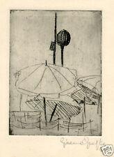 Giacomo Quaglia-IN SPIAGGIA-acquaforte-1950-ombrellone.