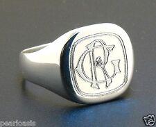 2 Letter Interlocked Monogram Engraved Man's Signet Ring 925 Silver Size 9 10 11