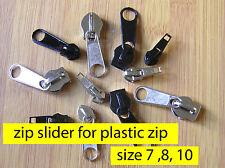 Zipper slider - PLASTIC SPIRAL Coil  ZIP # 7 8 10 Zip Slider Pull Zipper Repair
