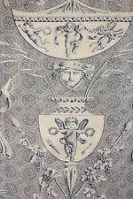 """Antique French blue toile de Jouy  """" Pallas et Venus """" Huet design material"""