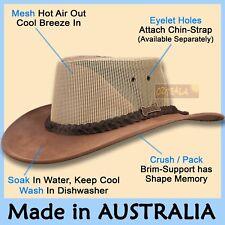 ● Driza-Bone Jacaru Hat Pu-Suede Leather Mesh Felt Men Cowboy Australian Outback