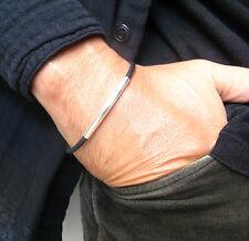 men women cord 925 string bangle Tube sterling silver black silicone bracelet