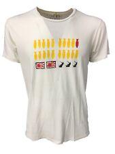 SPORTSWEAR t - shirt uomo mezza manica avorio con usure cotone MADE IN USA