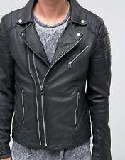 Mens Biker Asymmetrical Double Zip Black Real Leather Jacket